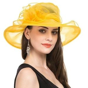 Ladies Hat Full Size Yellow Kentucky Derby, Easter